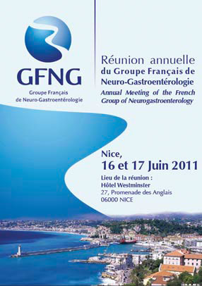 Affiche et programme de la réunion de Nice avec le lancement officiel de l'APSSII (association des patients souffrant du syndrome de l'intestin irritable) ou colopathie fonctionnelle
